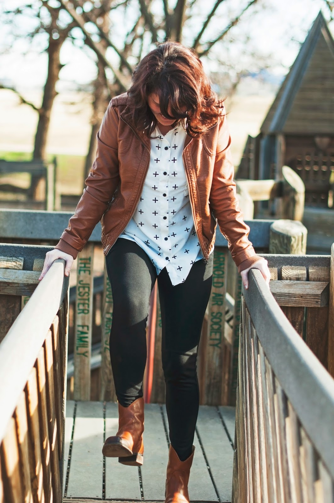 leggings, leather jacket, tunic & booties, the ultimate comfy uniform