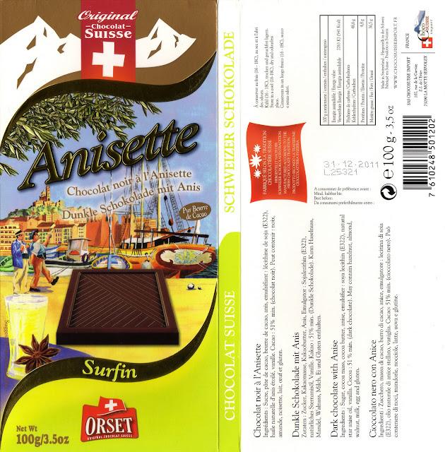 tablette de chocolat noir gourmand orset la route des alpes noir anisette
