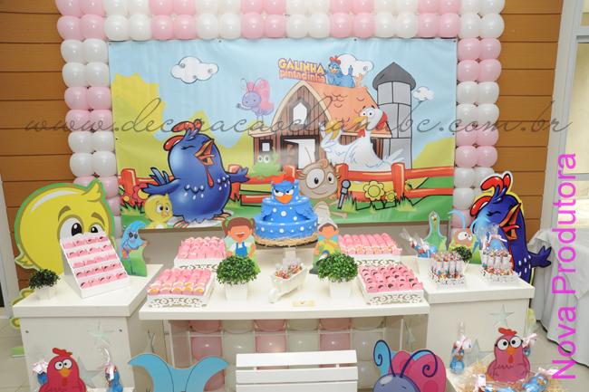 decoracao festa galinha pintadinha rosa:Decoração Clean Galinha Pintadinha Rosa e Branco