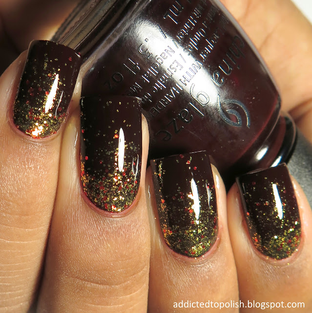 fall nail art glitter gradient