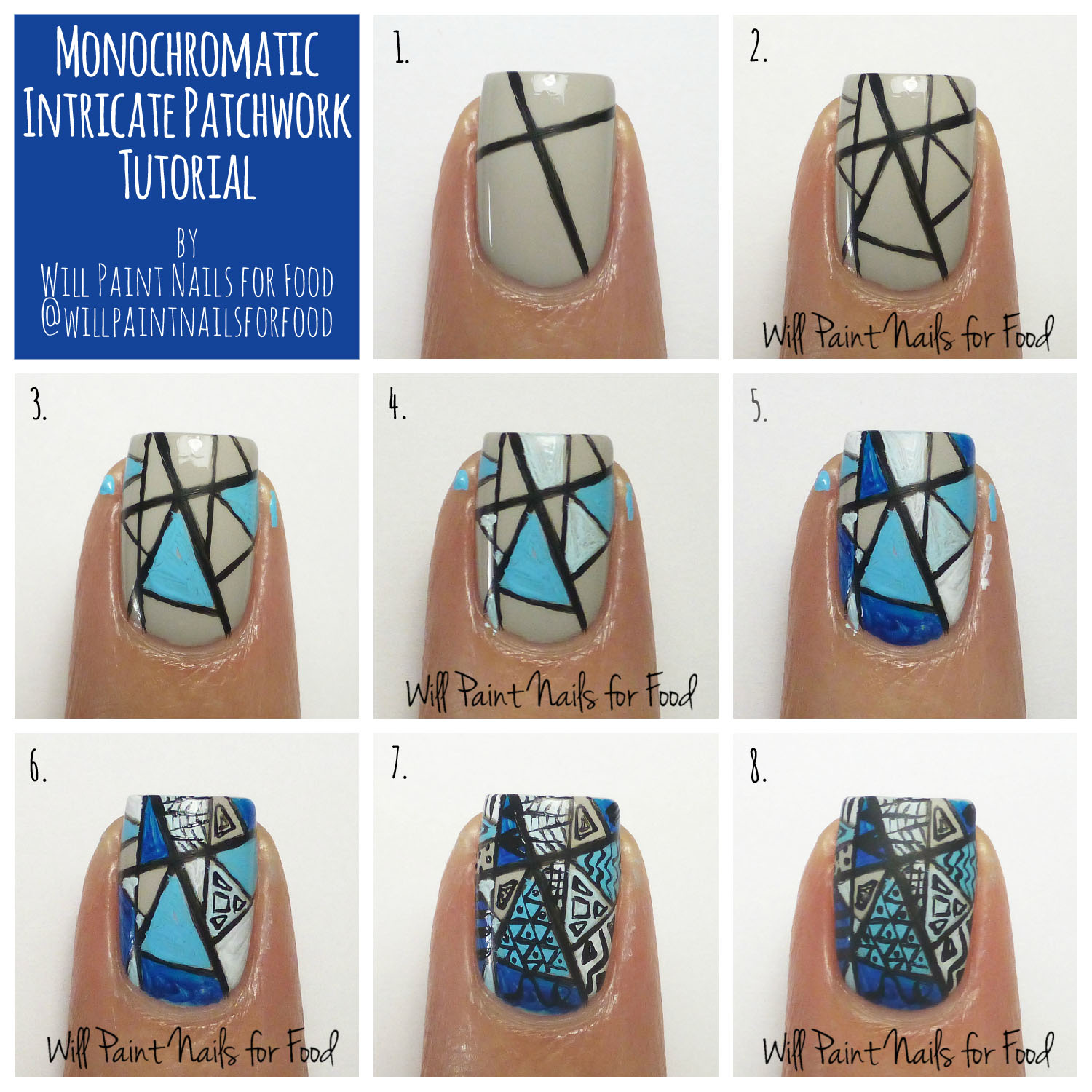 Monochromatic intricate patchwork nail art tutorial