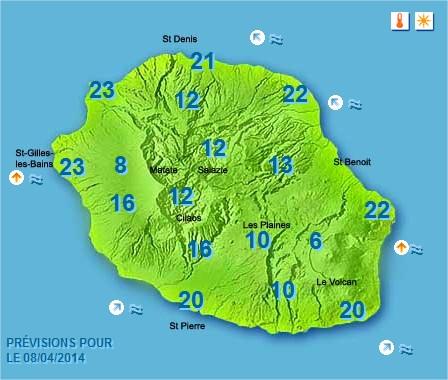 Prévisions météo Réunion pour le Mardi 08/04/14