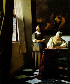 """""""Femme écrivant un lettre et sa servante,"""" de Vermeer"""