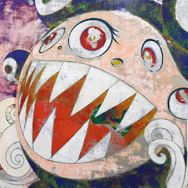 Takashi Murakami painting detail from his show at the MCA
