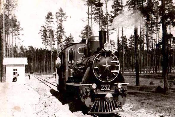 History - The Children's Railway Station Zaslonovo in 1955 Minsk - Belarus