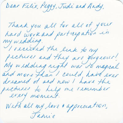 Thank You Card from Jamie & Adam from their wedding at Steiner Studios Stage 6
