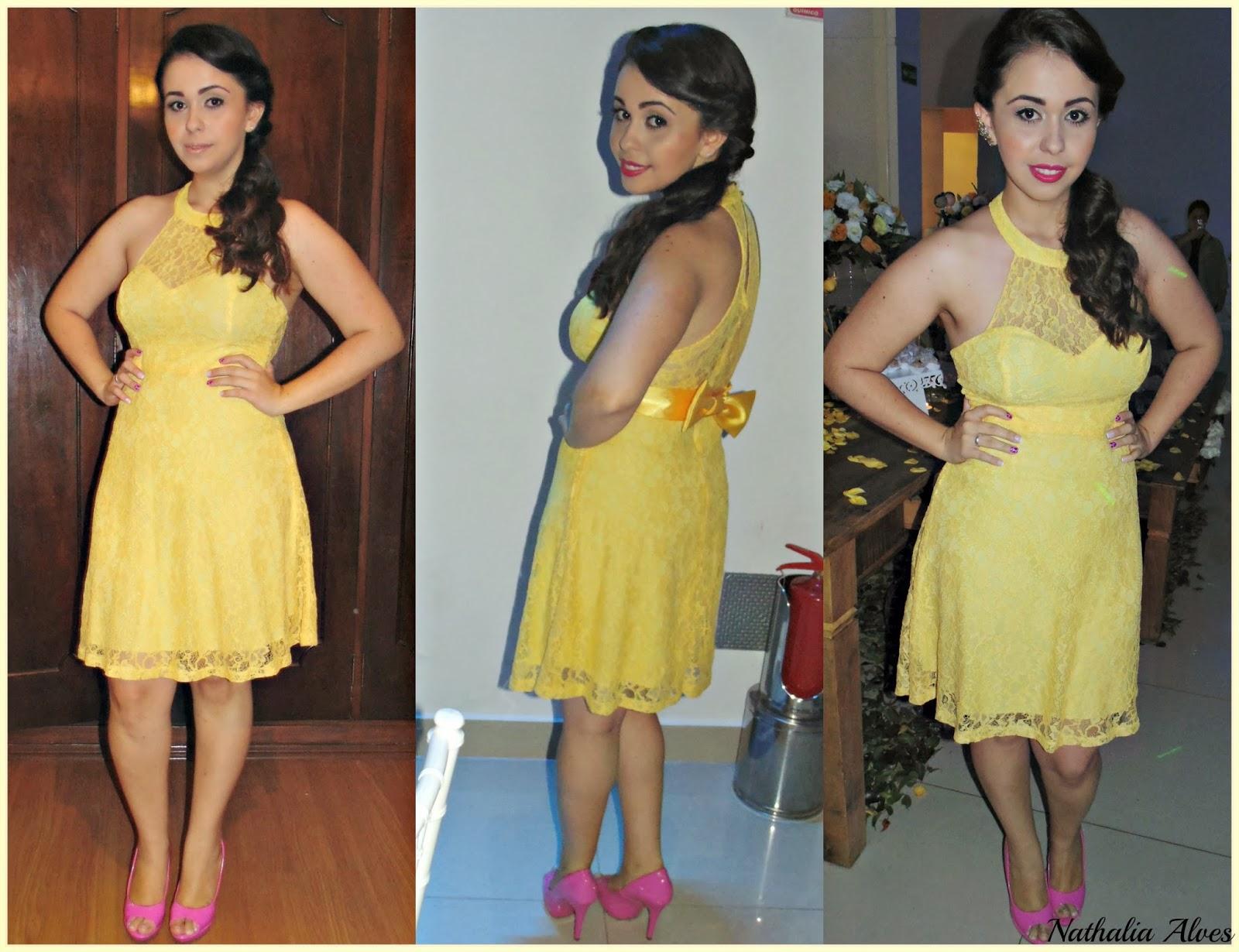 Sapato para vestido longo amarelo