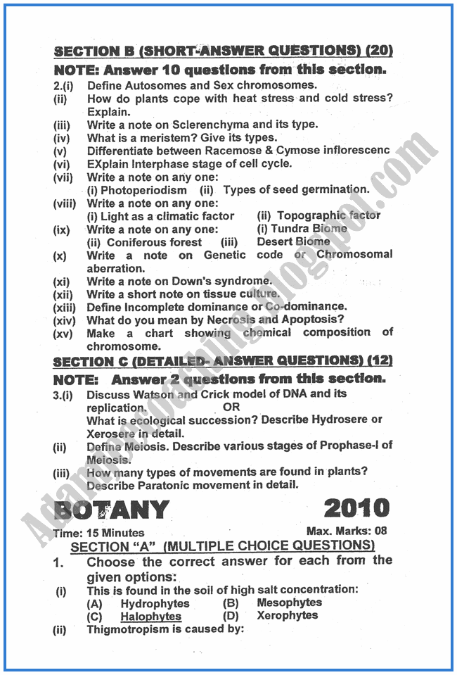 Botany-2011-past-year-paper-class-XII