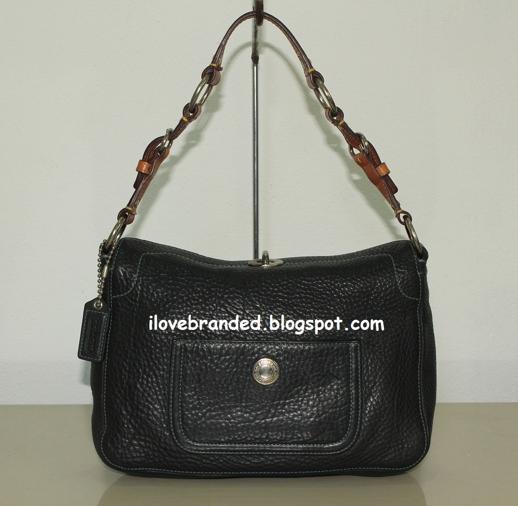 i love branded coach chelsea black pebbled leather