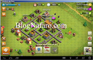 Bermain Clash of Clans di Blue Stacks