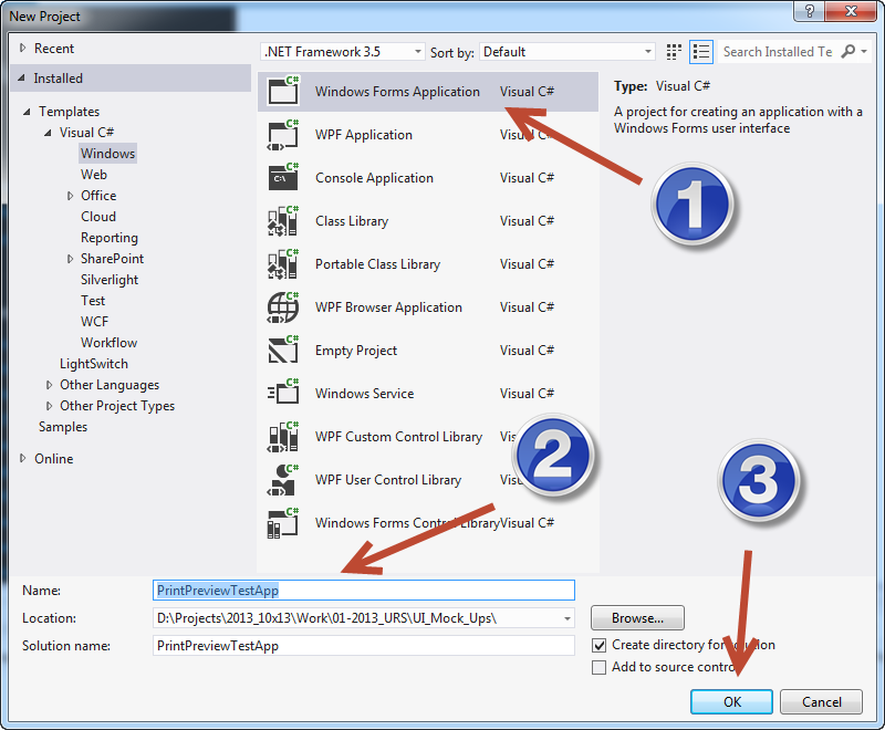 Select Windows Forms Application