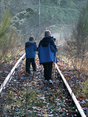 walking on old railroad tracks