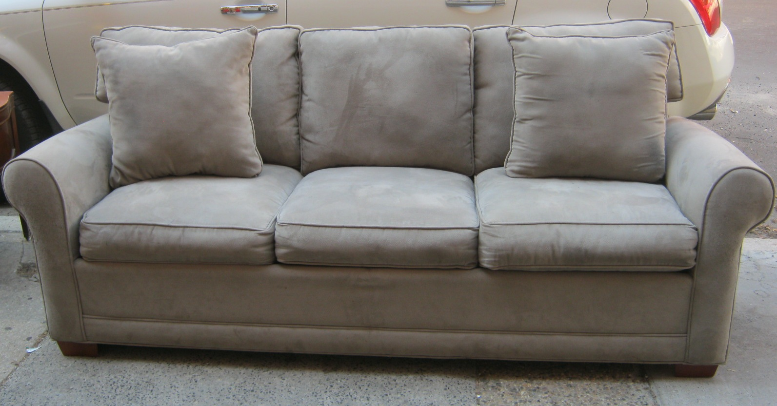 Delightful Grey Microfiber Sofa Bed   Sold