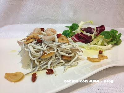 Cocina con ana timbal de bacalao y gulas con gambas al ajillo - Ana cocina facil ...