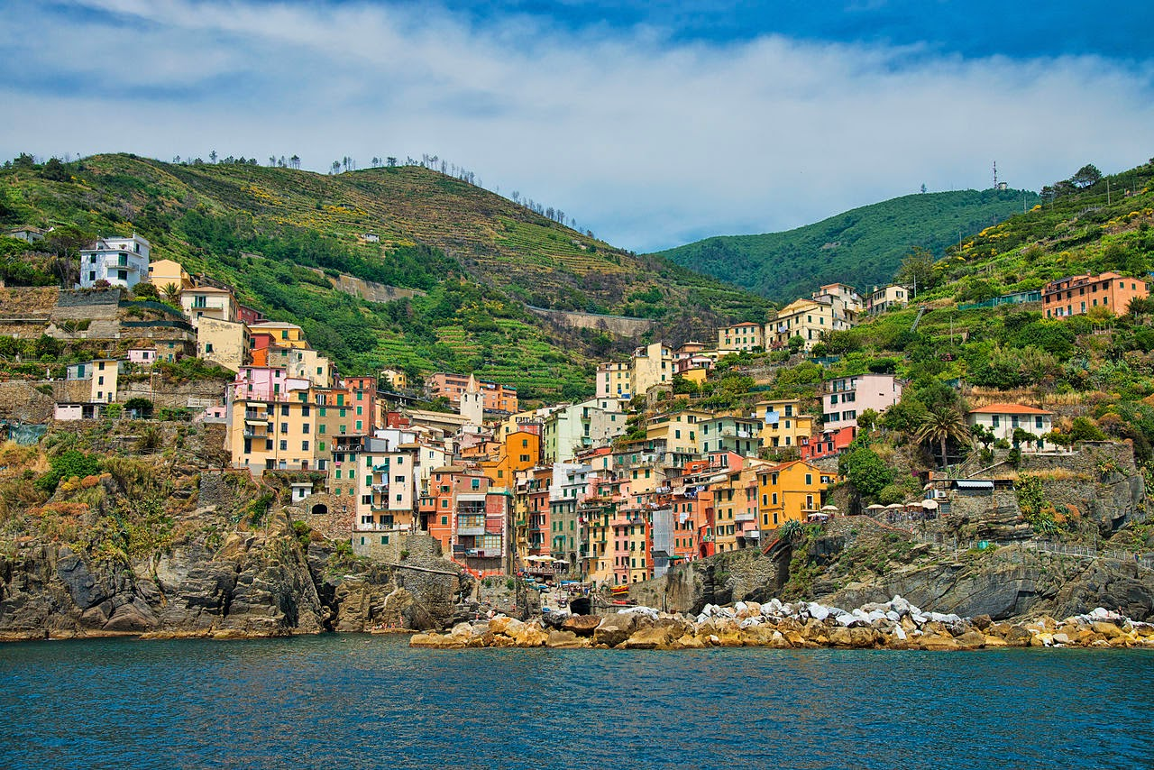 Riomaggiore village, Small valley in the Liguria region of Italy.