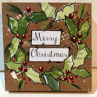 Mixed media wreath, Holiday Wreath Sign, Merry Christmas decor