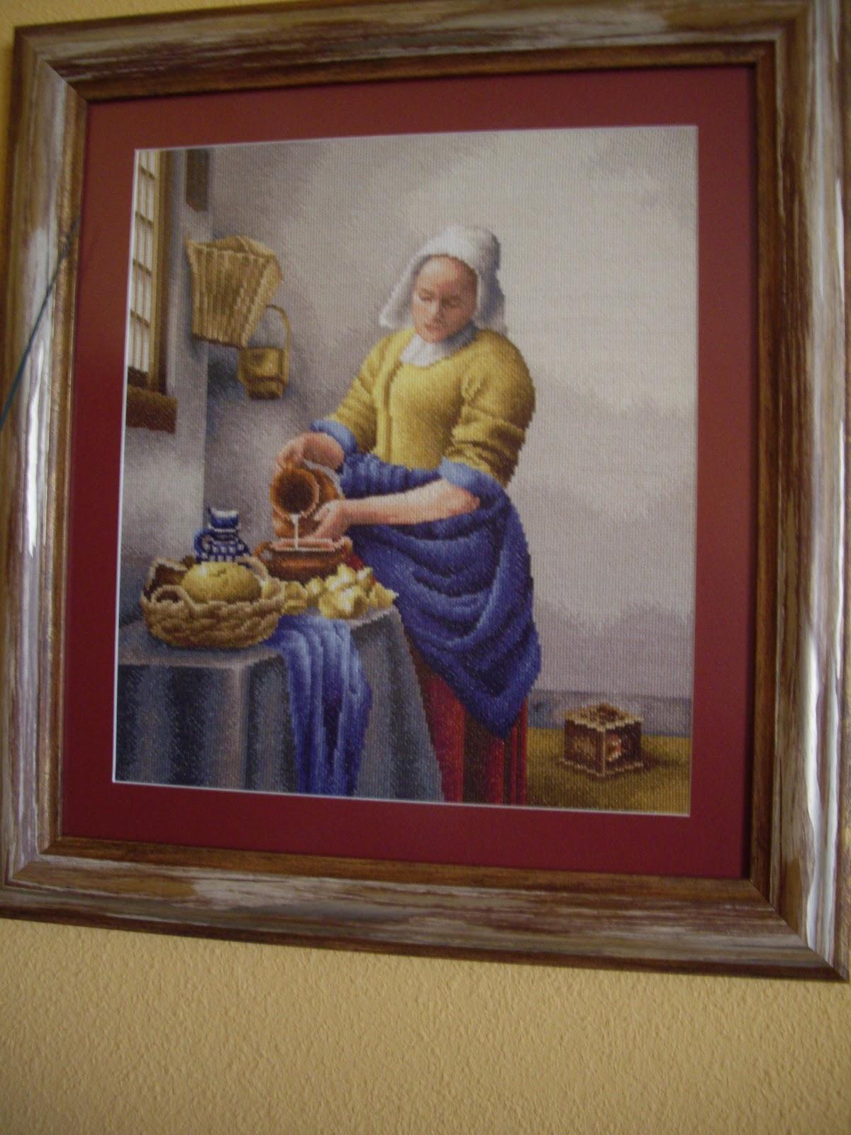 Las labores de mi madre cuadros a punto de cruz - La lechera de vermeer ...