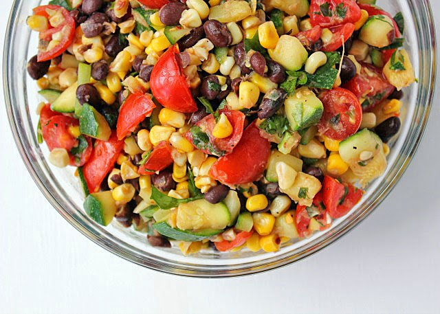 Zucchini Corn and Black Bean Salad | Recipe by chelsa-bea.com