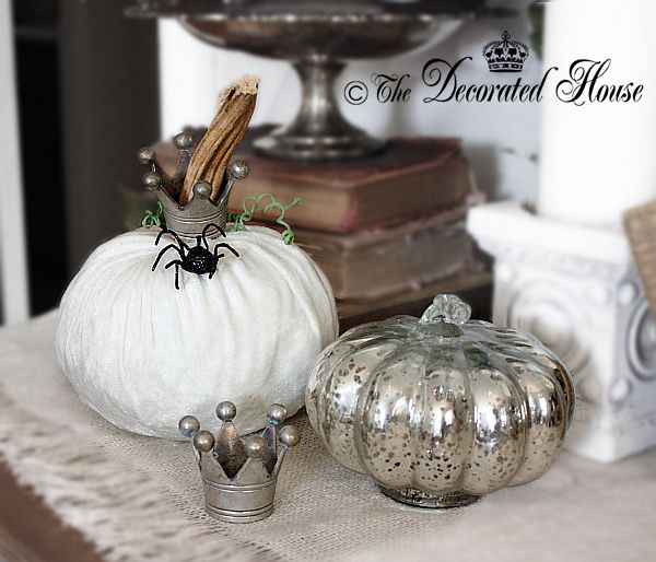 The  Decorated House - Velvet Pumpkin and Mercury Glass Halloween Decor