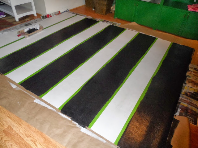 Rug created out of vinyl and painted so that it is wipeable.