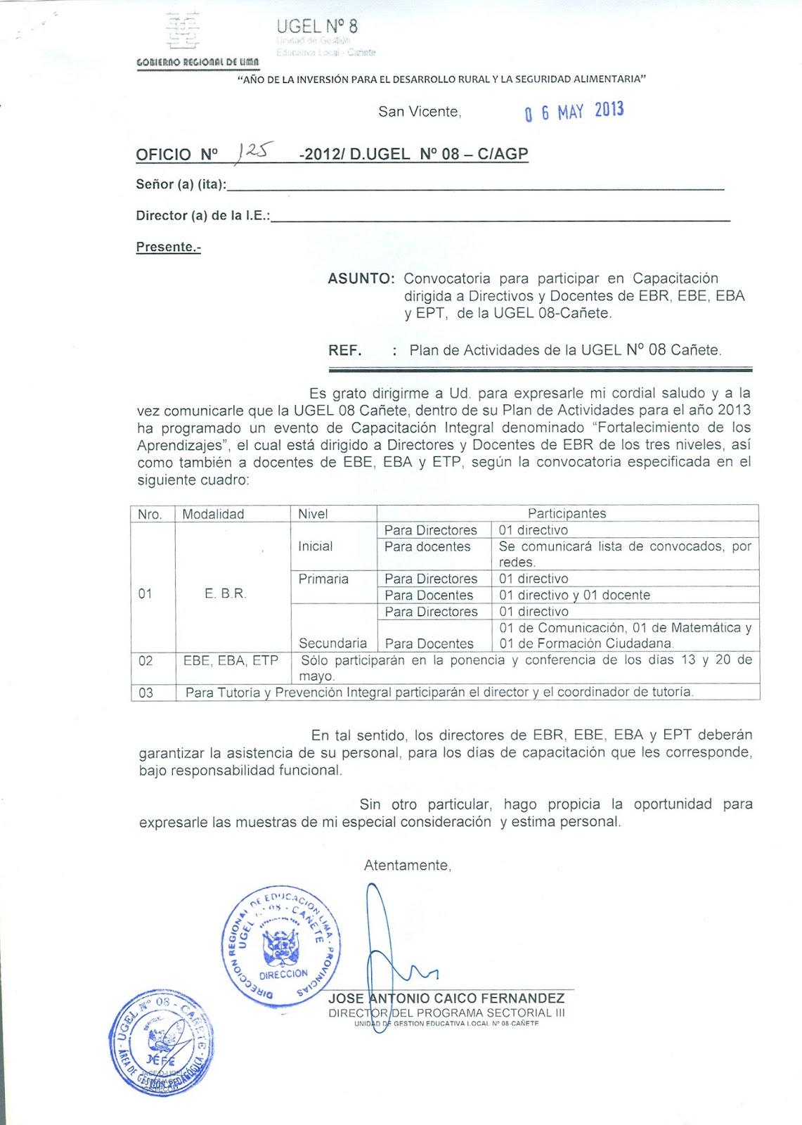 Ugel n 08 ca ete oficio de convocatoria para for Convocatoria para docentes