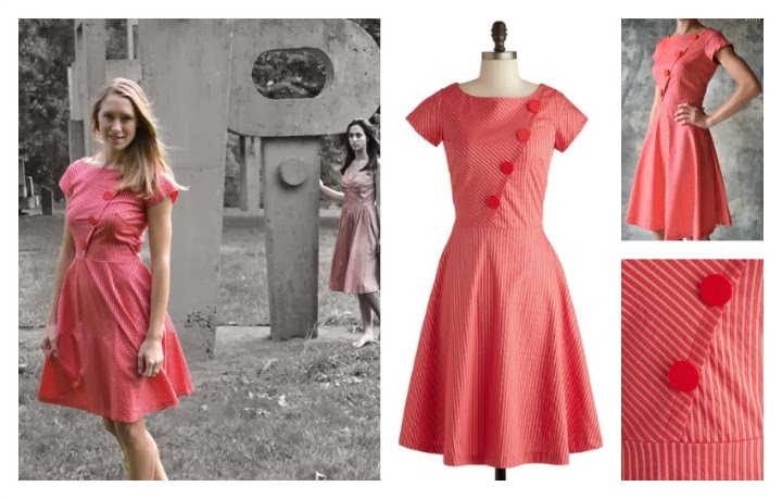 modcloth.com, Modcloth dress, Slant Rhyme Dress, Petrunia product shot, close up photos, button details, pink and silver striped, 1950s style, 50s inspired, A-line skirt, fit and flare, retro, vintage, cherry red, shimmer fabric