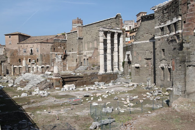 The remaining bases, walls and columns are ruin down can be seen in the heart of city in Rome, Italy