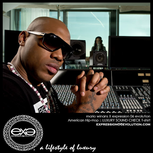"SUPER PRODUCER MARIO WINANS WEARING EX.E ""LUXURY SOUND CHECK"" T-SHIRT IN THE SUDIO."