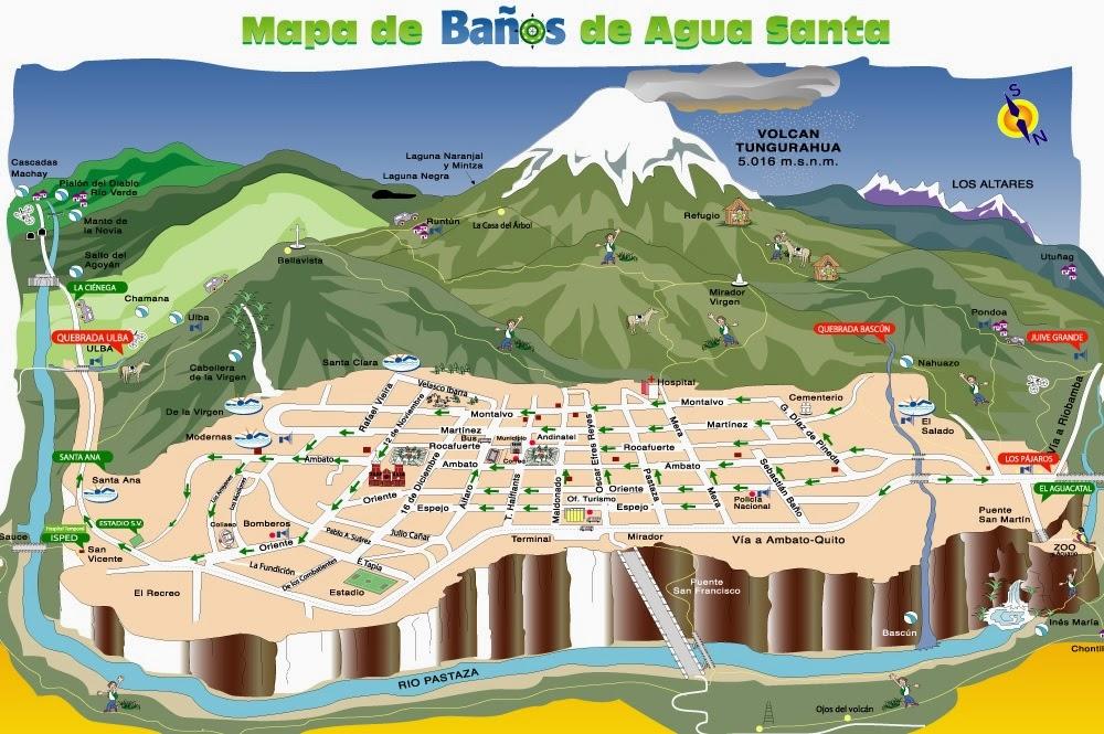 Mapa del centro de la ciudad de Baños