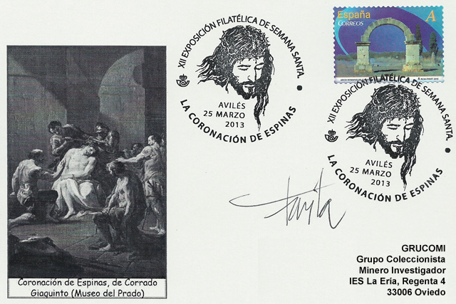 Tarjeta matasellos Semana Santa Avilés, diseñado Favila