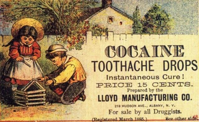 Propaganda do Drops de Cocaína - Cura para a Dor - com crianças