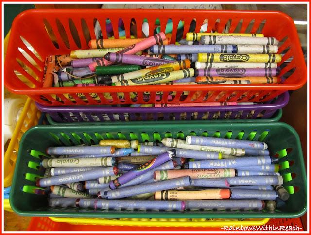 photo of: Crayons in Bins (Organizational RoundUP via RainbowsWithinReach)