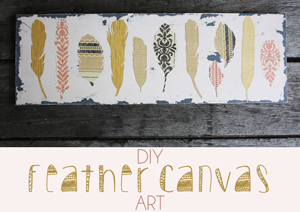 DIY Wallpaper Feather Art on Canvas