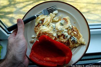 omelett, ädelost, paprika, påsk, påskmat, påskmiddag, foto anders n