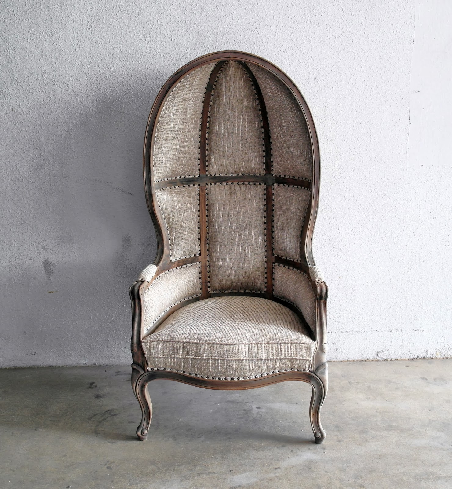 French Canopy Chair In Earthy Brown.