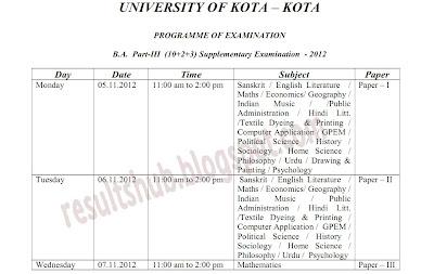 B.A. Final Supplementary 2012 Exam Timetable Download Kota University