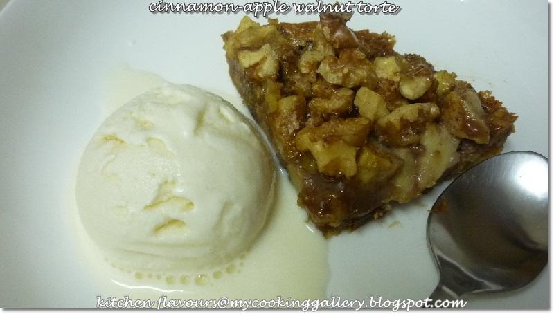 ... flavours: THB : Cinnamon-Apple Walnut Torte & Vanilla Frozen Yoghurt