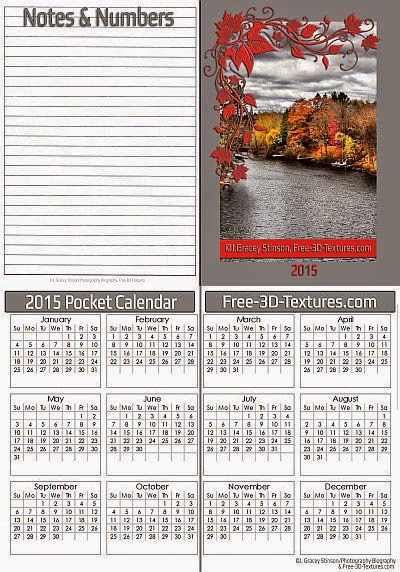 Photography Blography 2015 Pocket Calendar Templates Single And