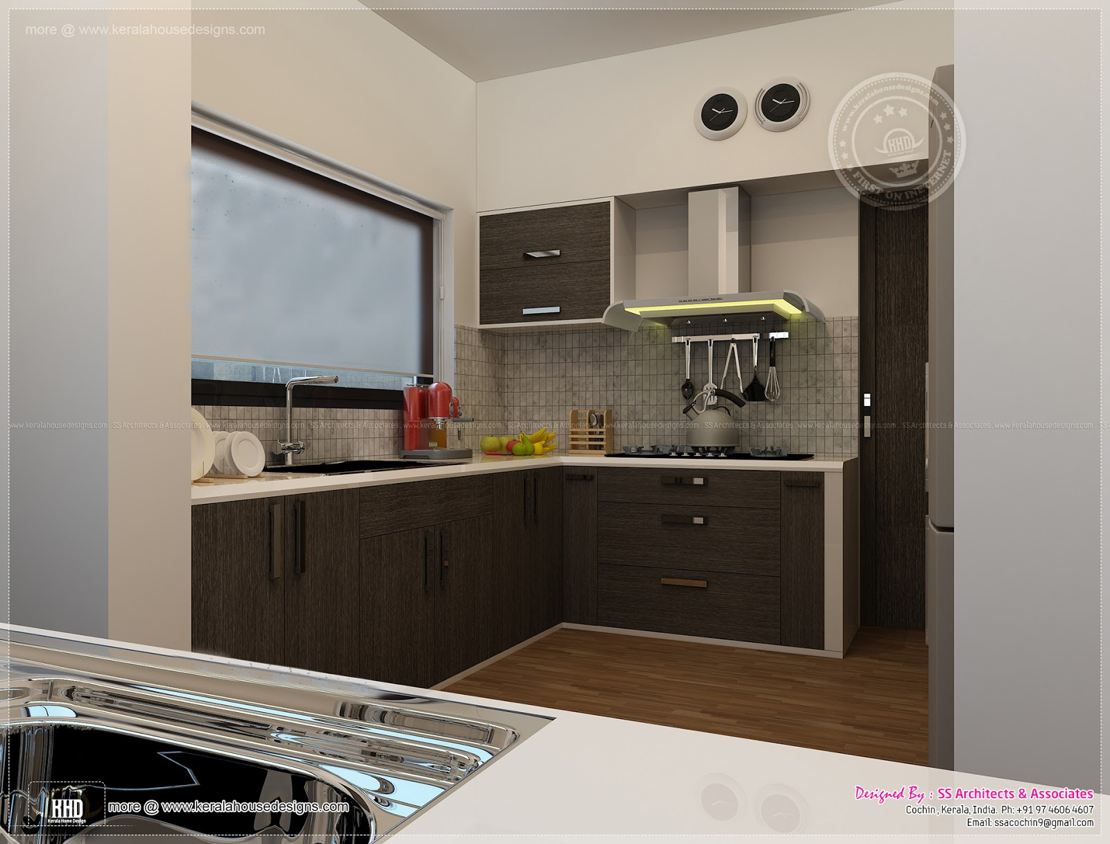 Kitchen interior views by ss architects cochin home for Kitchen interior designs