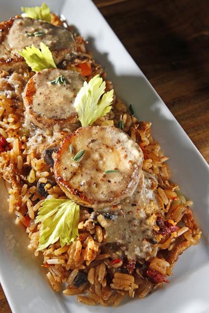"Dirty Fried Rice + Mushroom ""Scallops"" + Creole Coconut Sauce"