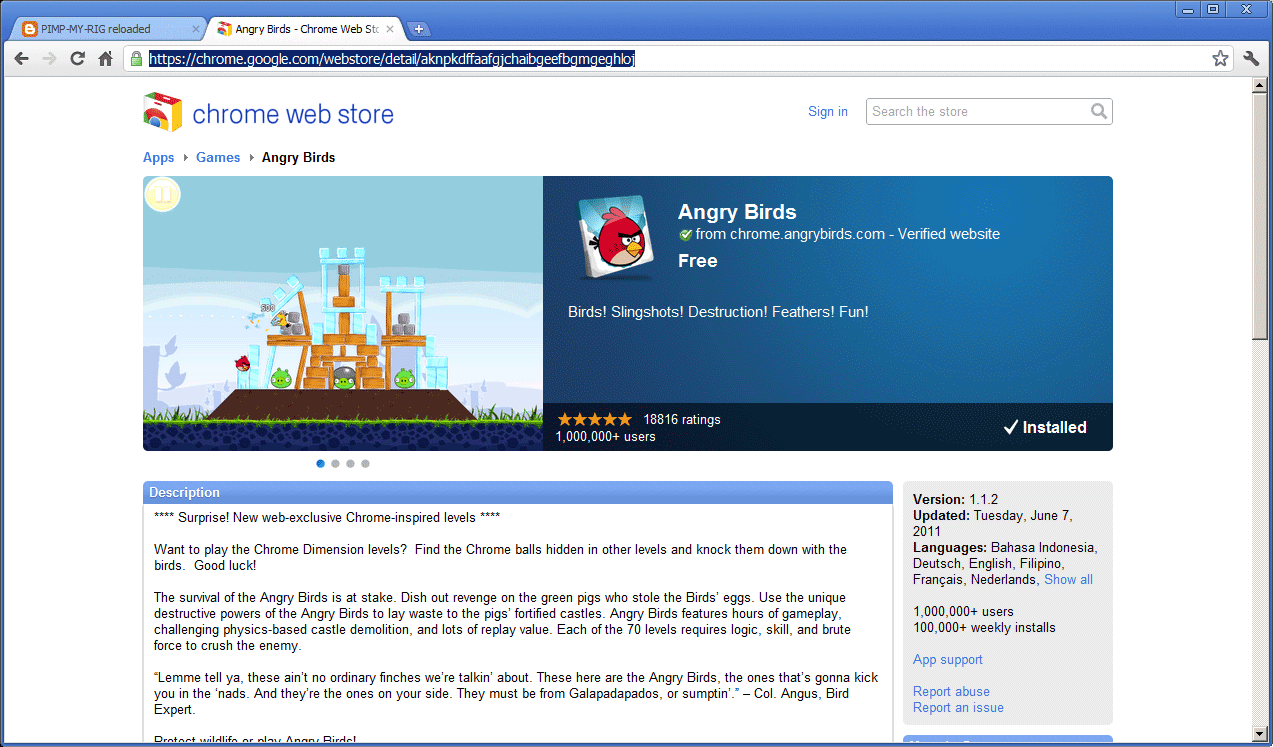 Info install angry birds on chrome browser Browser info