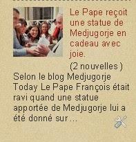Medjugorje actualités Le Pape reçoit une statue de Medjugorje en cadeau avec joie