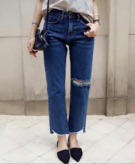 韓新款寬牛仔褲
