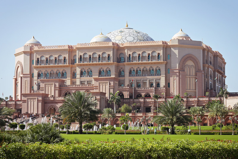 Exterior of the Emirates Palace Hotel in Abu Dhabi