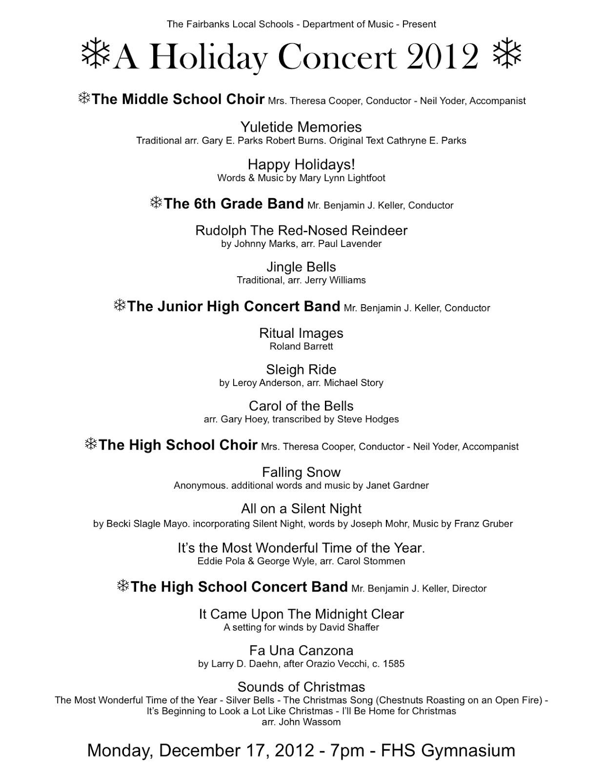 choral concert program template