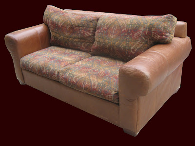 Leather U0026 Southwest Tapestry Sofa SOLD