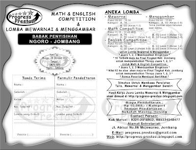 Progress Prestasi : Brosur Math & English Competition & Lomba Mewarnai dan Menggambar Babak Penyisihan Kec. Ngoro - Jombang