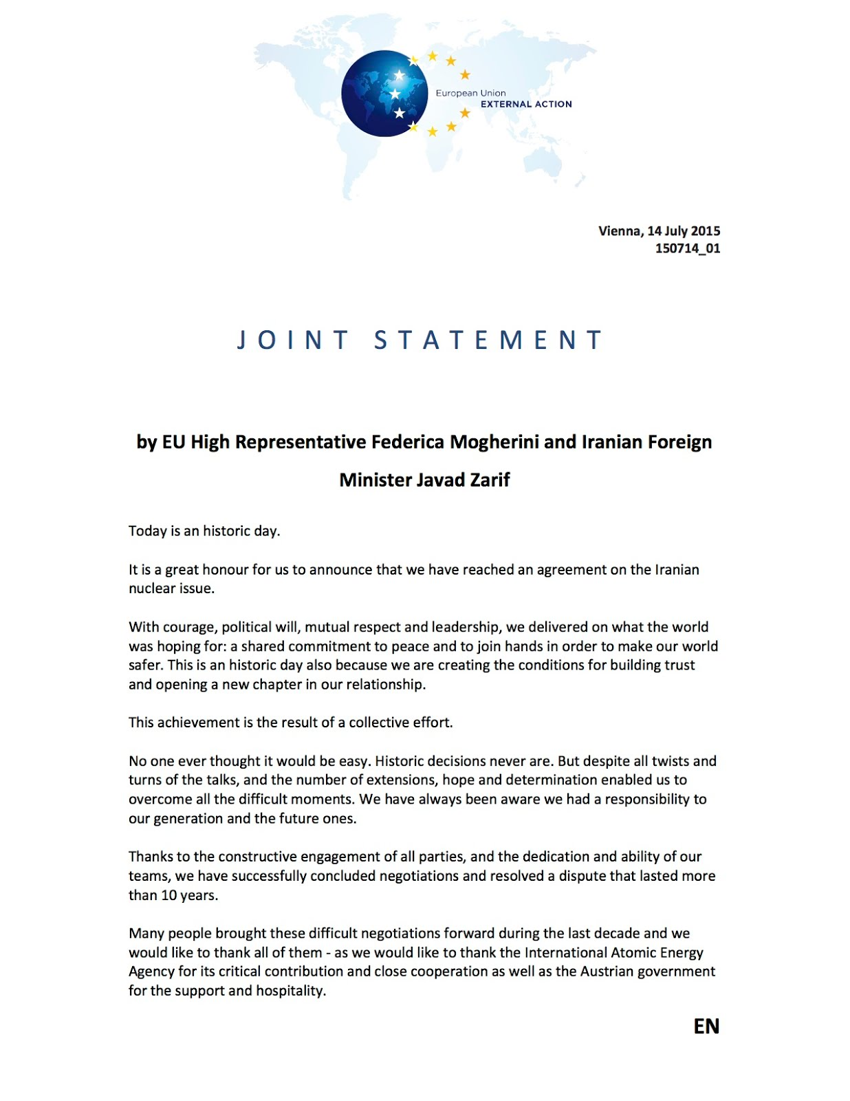 Joint Statement