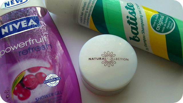 Nivea shower gel, batiste dry shampoo, natural collection makeup