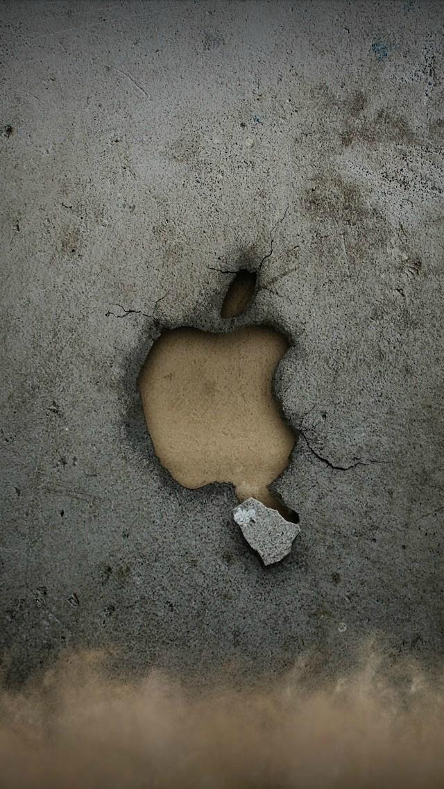 石壁のアップルロゴマーク